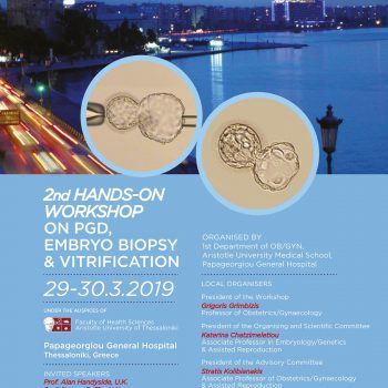 2nd Hands-on Workshop on PGD, Embryo Biopsy & Vitrification poster