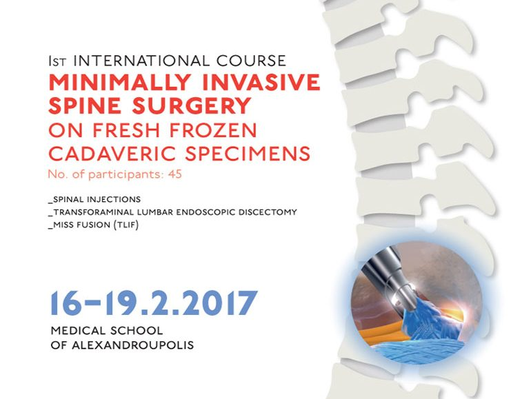 1st International Course Minimally Invasive spine Surgery on Fresh Frozen Cadaveric Specimens poster